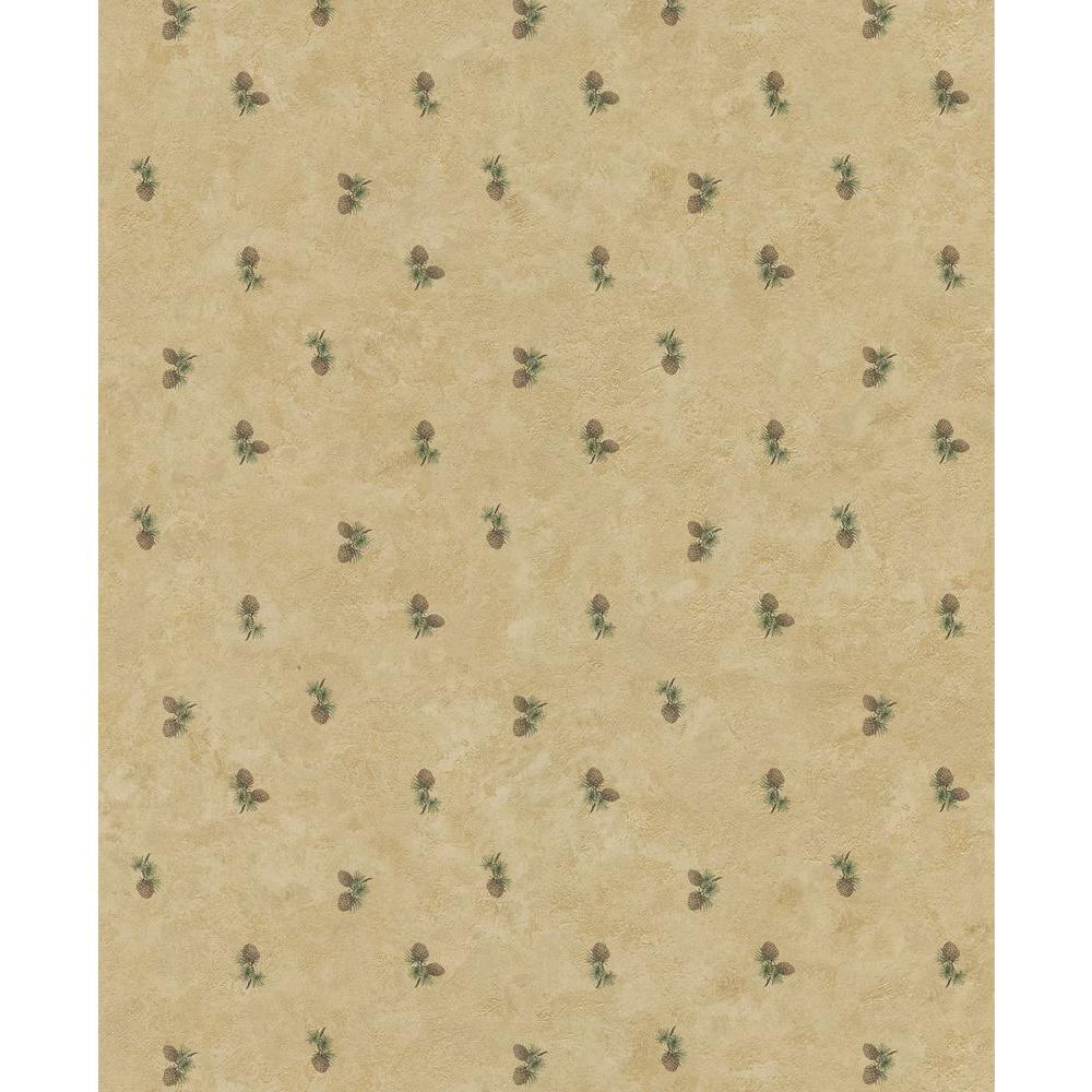 Northwoods Lodge Cream Pinecone Wallpaper Sample