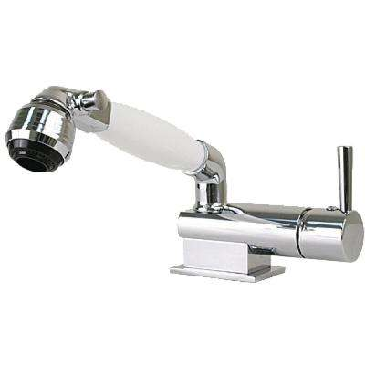 Minimalistic Mixer and Shower Combination With Single Lever Control and White Conservation Valve Handle