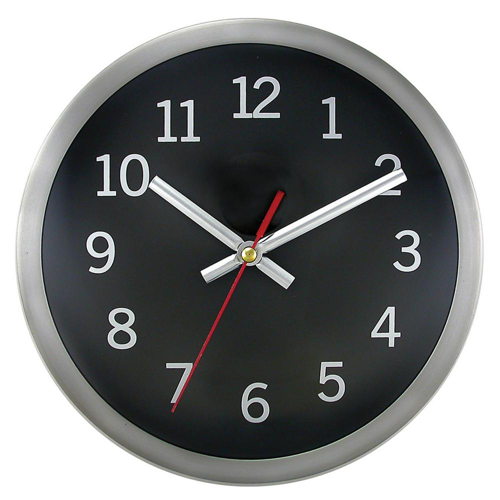 Timekeeper Products 9 in. Round Brushed Metal Rim Hand Wall Clock