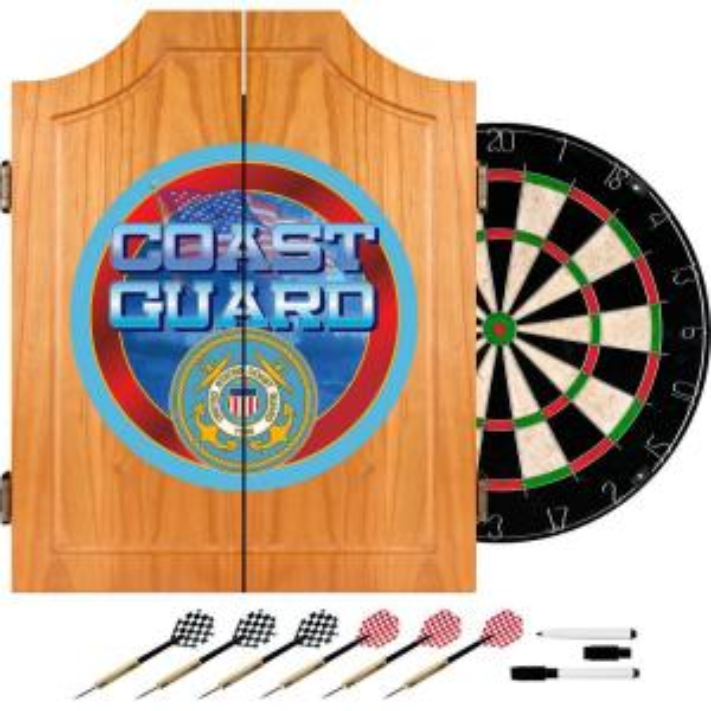 US Coast Guard Wood Finish Dart Cabinet Set