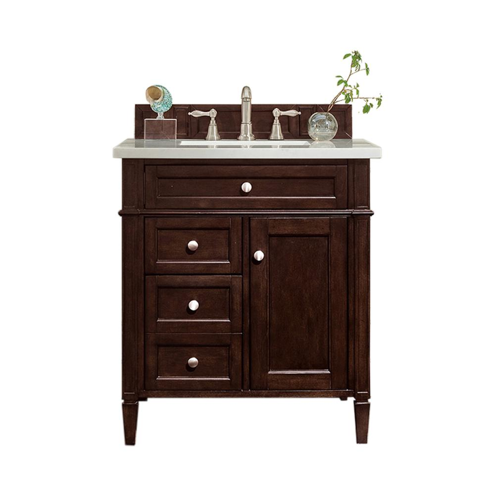 James Martin Vanities Brittany 30 in. W Single Vanity in Burnished Mahogany with Soild Surface Vanity Top in Arctic Fall with White Basin