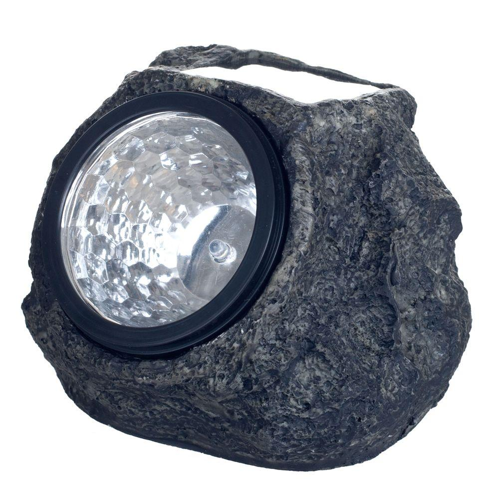 Pure Garden Solar Powered Led Grey Rock Landscaping Light 4 Pack
