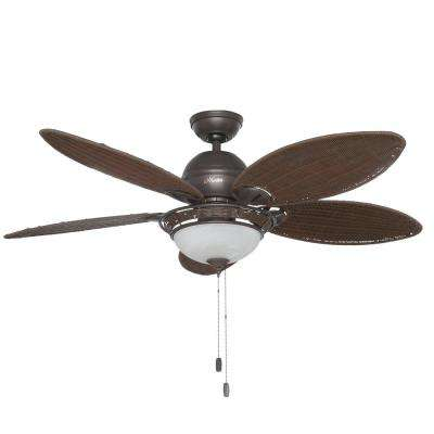 Caribbean Breeze 54 in. Indoor Weathered Bronze Ceiling Fan with Light Kit