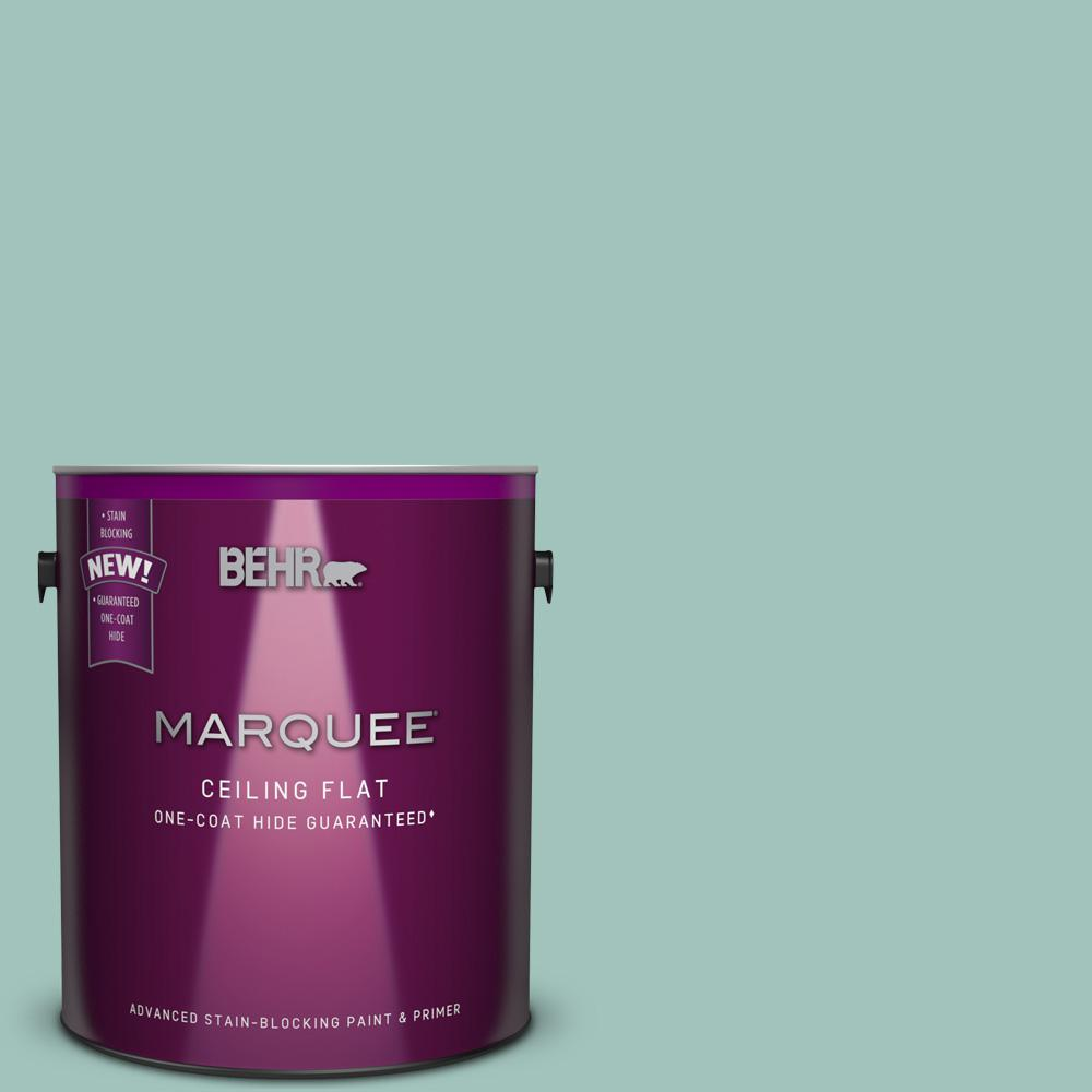 BEHR MARQUEE 1 gal. #MQ6-36 Tinted to Cascade Green One-Coat Hide Flat Interior Ceiling Paint and Primer in One
