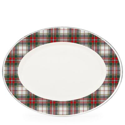 Highland Plaid 12 in. x 16 in. Enamelware Oval Platter