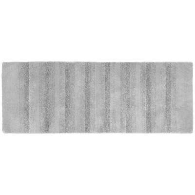 Essence Platinum Gray 22 in. x 60 in. Washable Bathroom Accent Rug