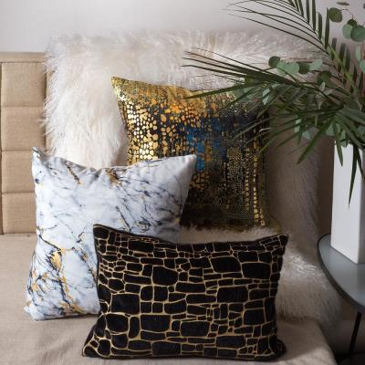 Precious Metals Black and Gold Graphic Polyester 20 in. x 12 in. Throw Pillow