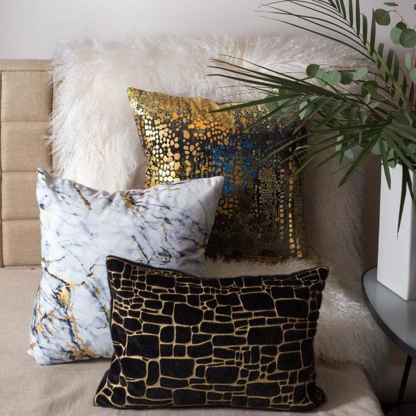 Edie@Home Precious Metals Black and Gold Graphic Polyester 20 in