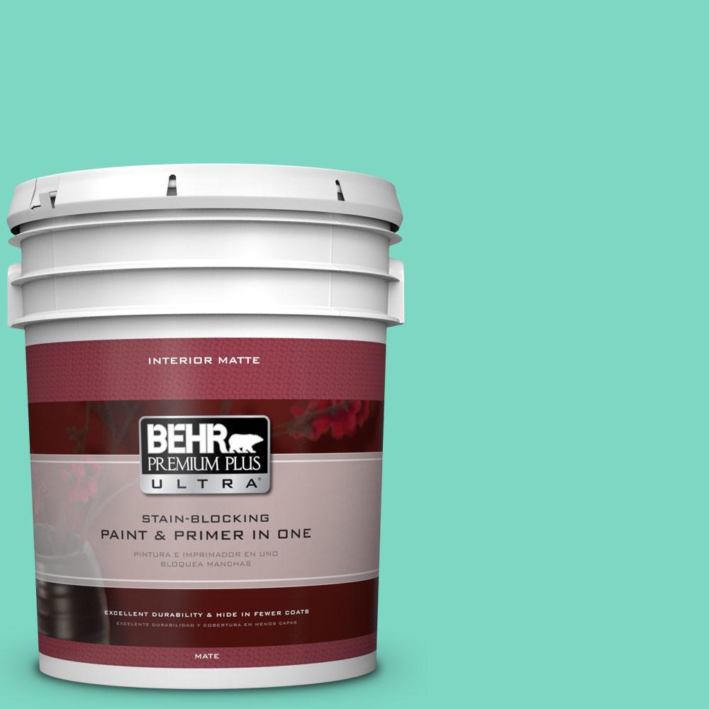 BEHR Premium Plus Ultra 5 gal. #480A-3 Mint Majesty Flat/Matte Interior Paint