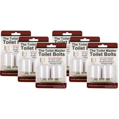 Tool-free Toilet Bolt and Cap System (6-Pack)