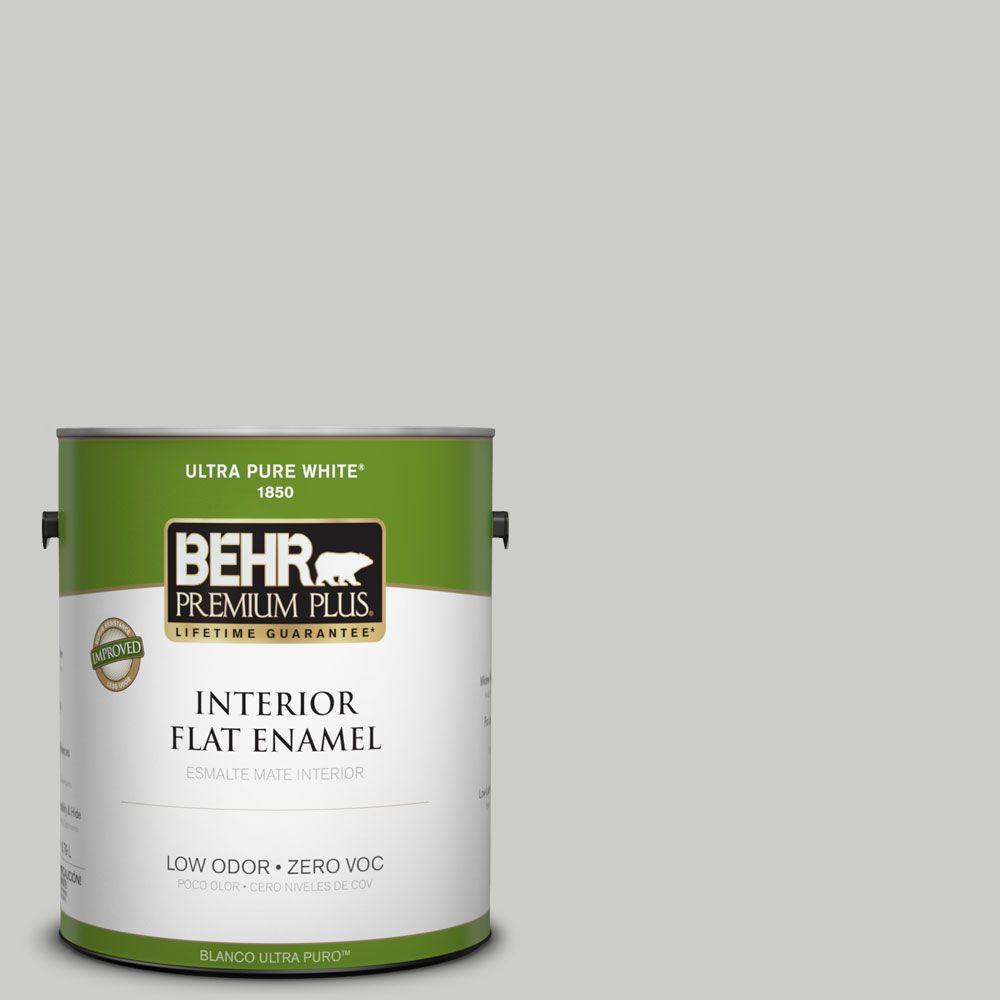 BEHR Premium Plus 1-gal. #PPL-64 Pewter Vase Zero VOC Flat Enamel Interior Paint-DISCONTINUED