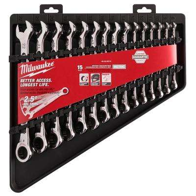 Metric Combination Ratcheting Wrench Set (15-Piece)
