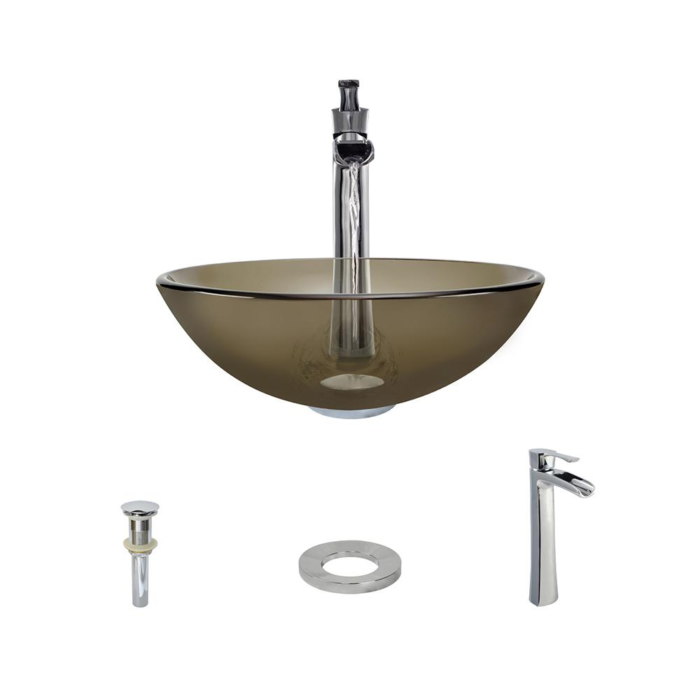 Glass Vessel Sink in Taupe with 731 Faucet and Pop-Up Drain