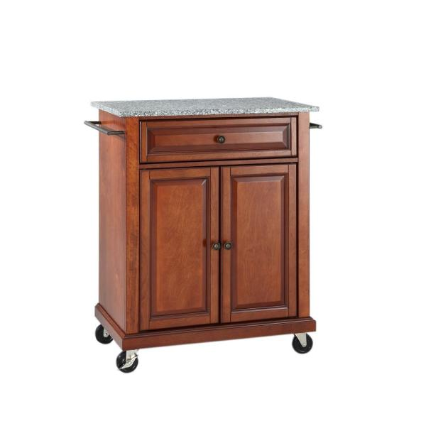 Rolling Cherry Kitchen Cart with Granite Top