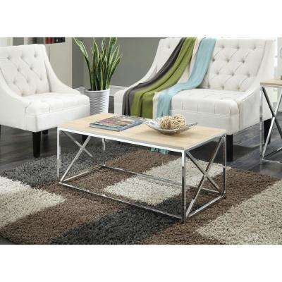 Belaire Chrome and Weathered White Coffee Table