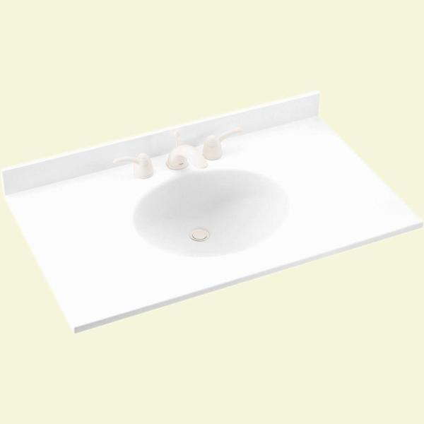 Ellipse 55 in. W x 22 in. D Solid Surface Vanity Top in White with White Basin