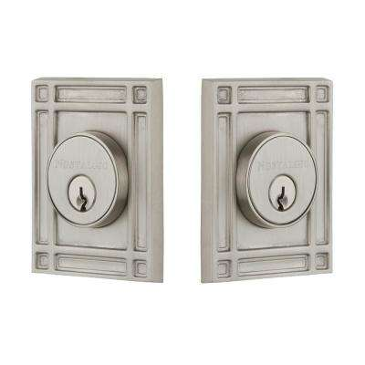 Mission Plate 2-3/4 in. Satin Nickel Backset Double Cylder Deadbolt