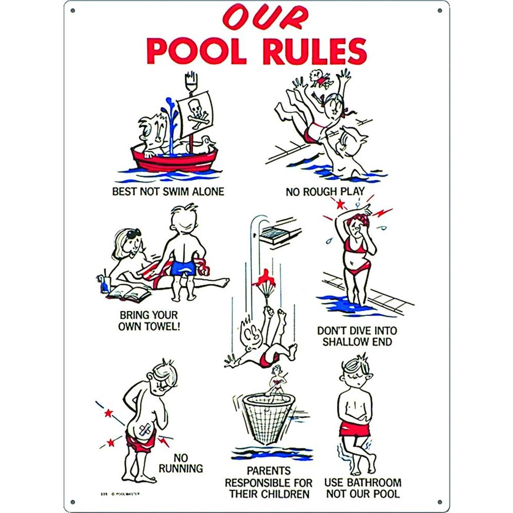Poolmaster Our Pool Rules Swimming Pool Sign, Kid Animation