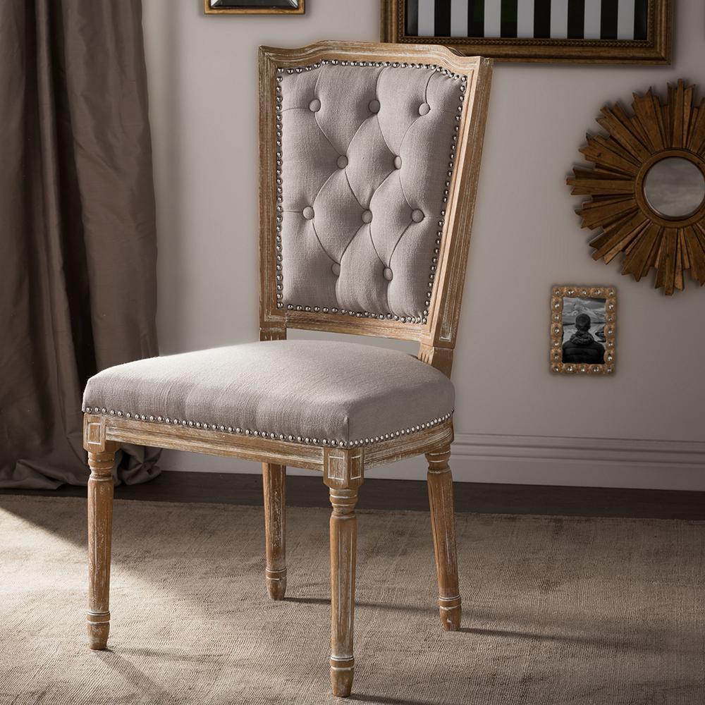 Estelle Beige Fabric Upholstered Dining Chair HomeSullivan