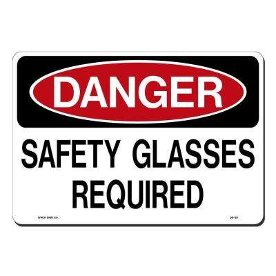14 in. x 10 in. Safety Glasses Required Sign Printed on More Durable, Thicker, Longer Lasting Styrene Plastic