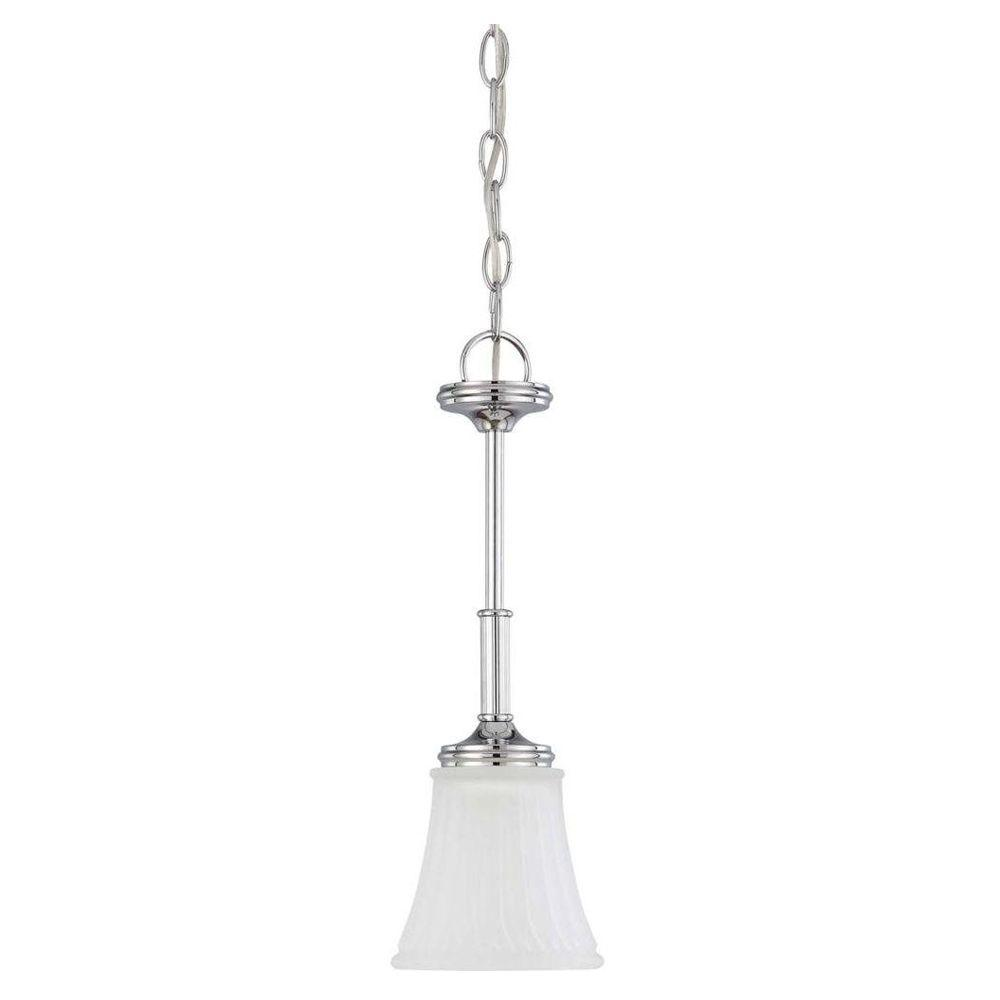 Glomar 1-Light Polished Chrome Mini Pendant with Frosted Etched Glass