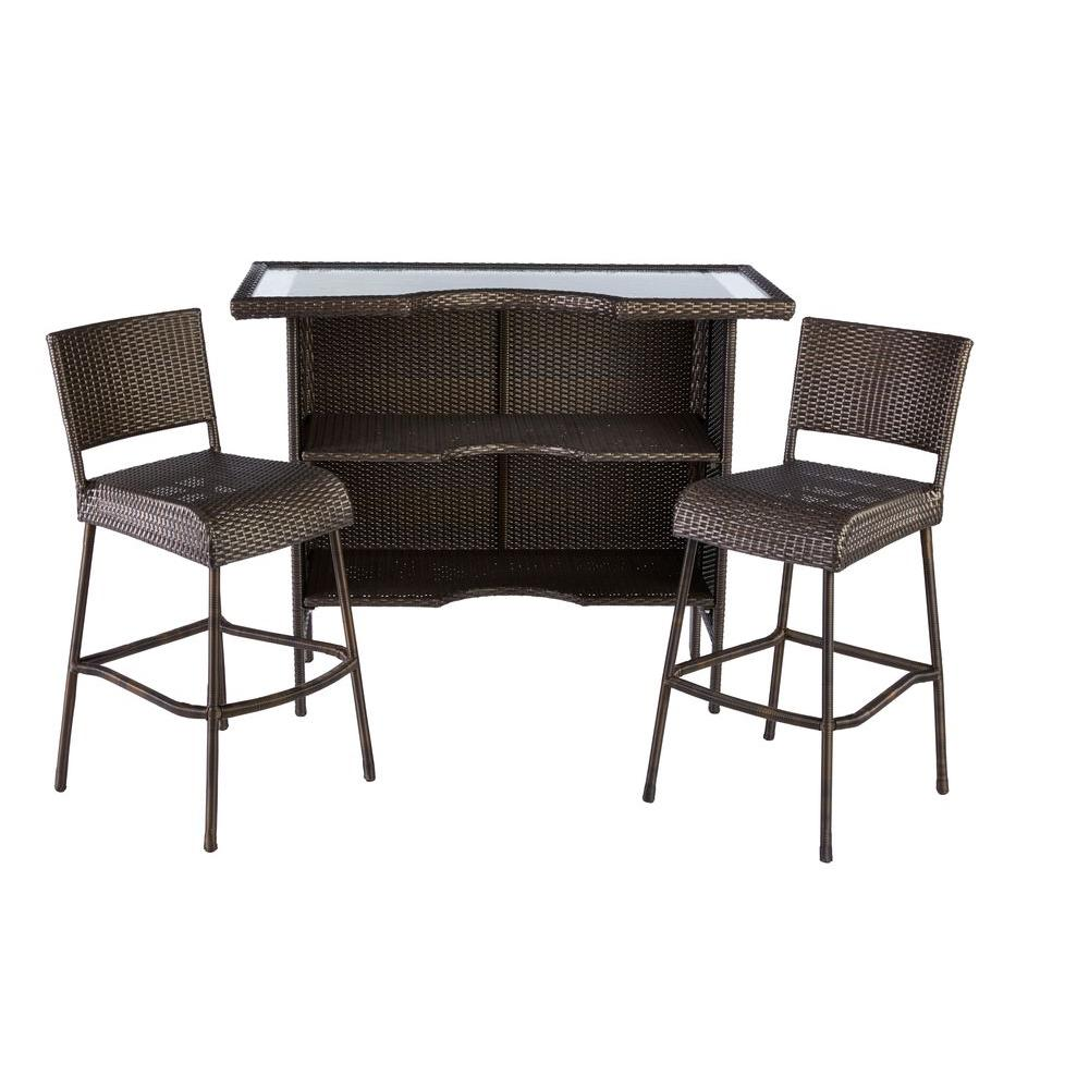 Beverly 3 Piece Wicker Outdoor Patio Bar Set. Patio Bar Sets   Outdoor Bar Furniture   The Home Depot