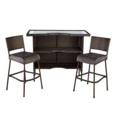 Beverly 3-Piece Wicker Outdoor Patio Bar Set