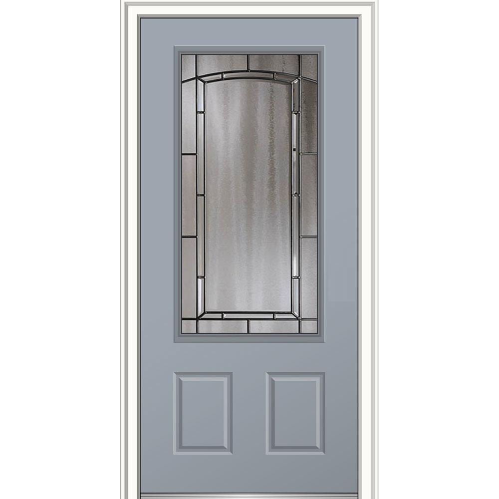 Mmi door 36 in x 80 in solstice glass right hand 3 4 for Prehung entry door with storm door