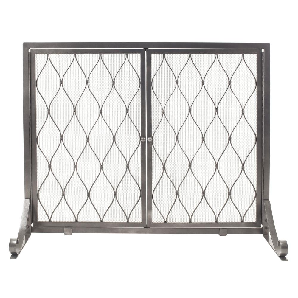 Pleasant Hearth Stonewall Gun Metal Grey Steel Single-Panel Fireplace Screen with Doors