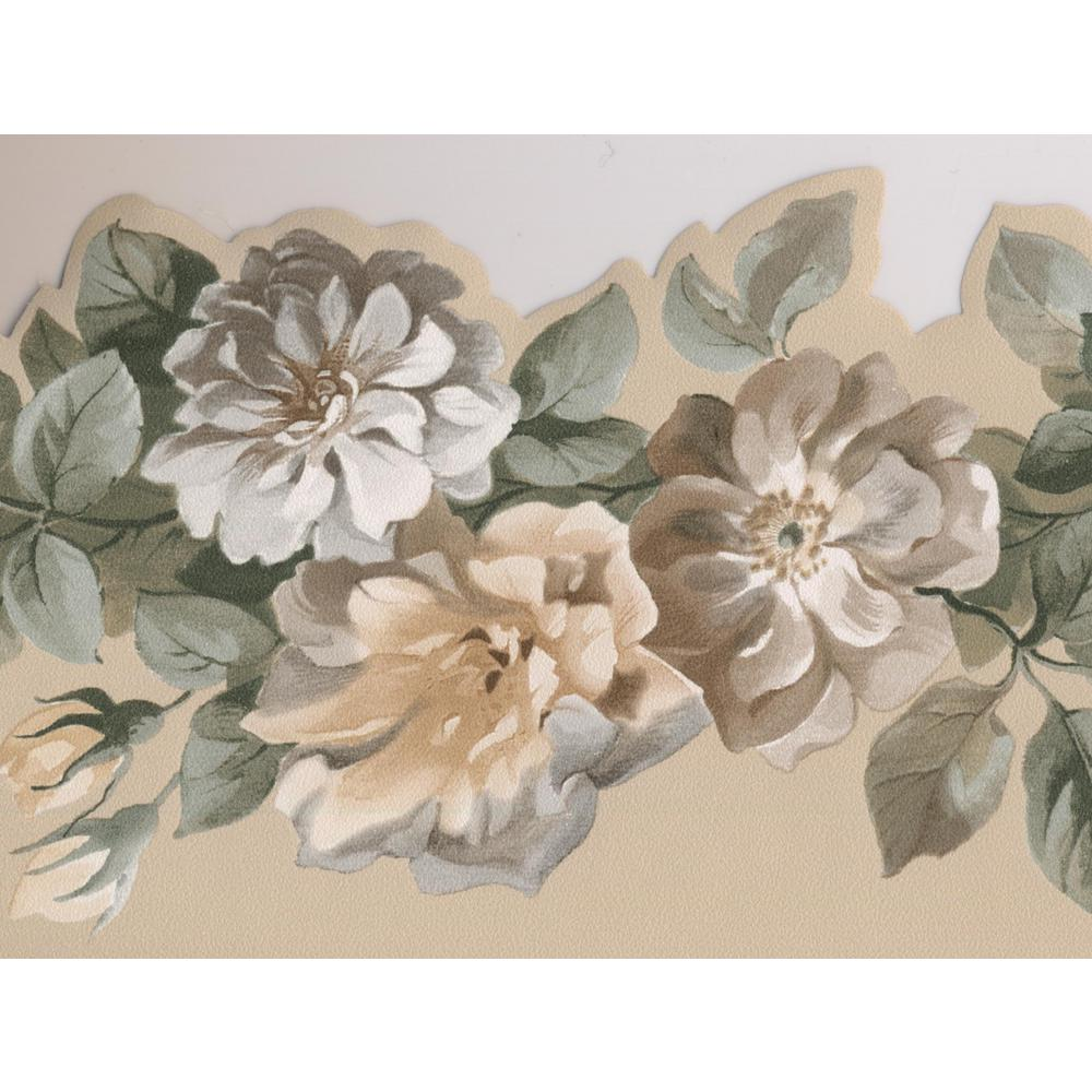 Norwall Yellow Grey Roses On Vine Floral Prepasted Wallpaper