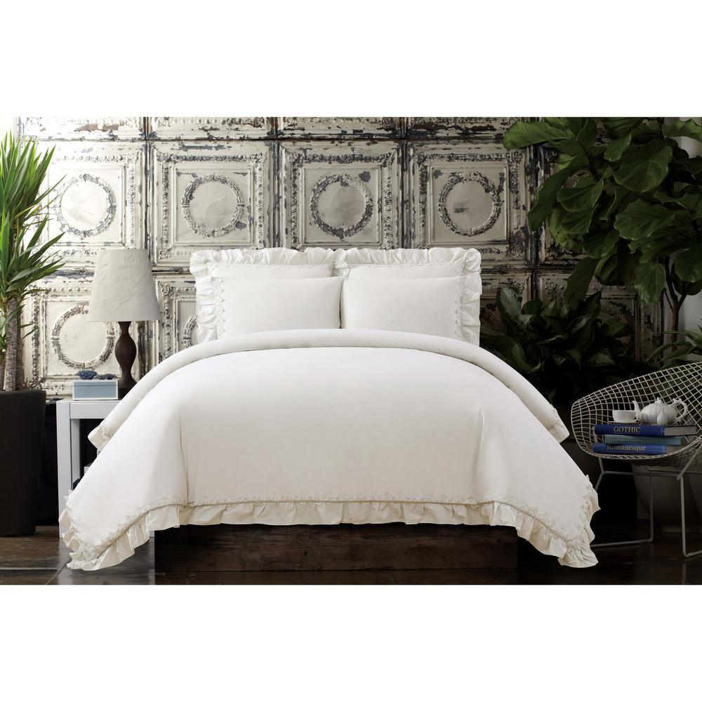 Voile Ivory Full / Queen Comforter Set