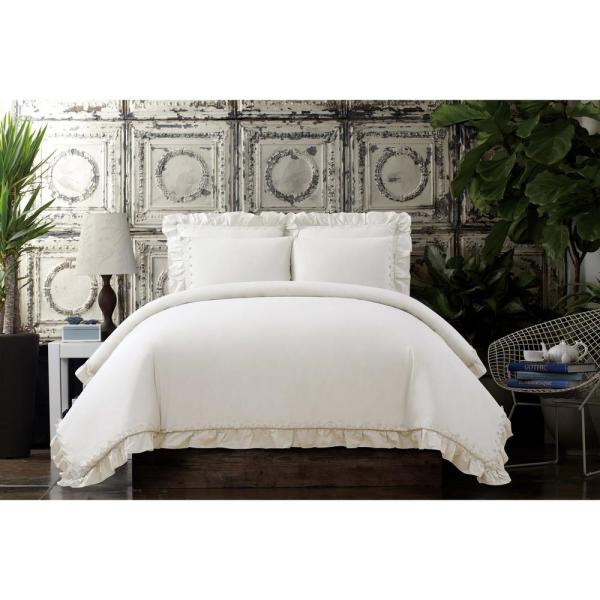 Voile 3-Piece Ivory Full/Queen Comforter Set