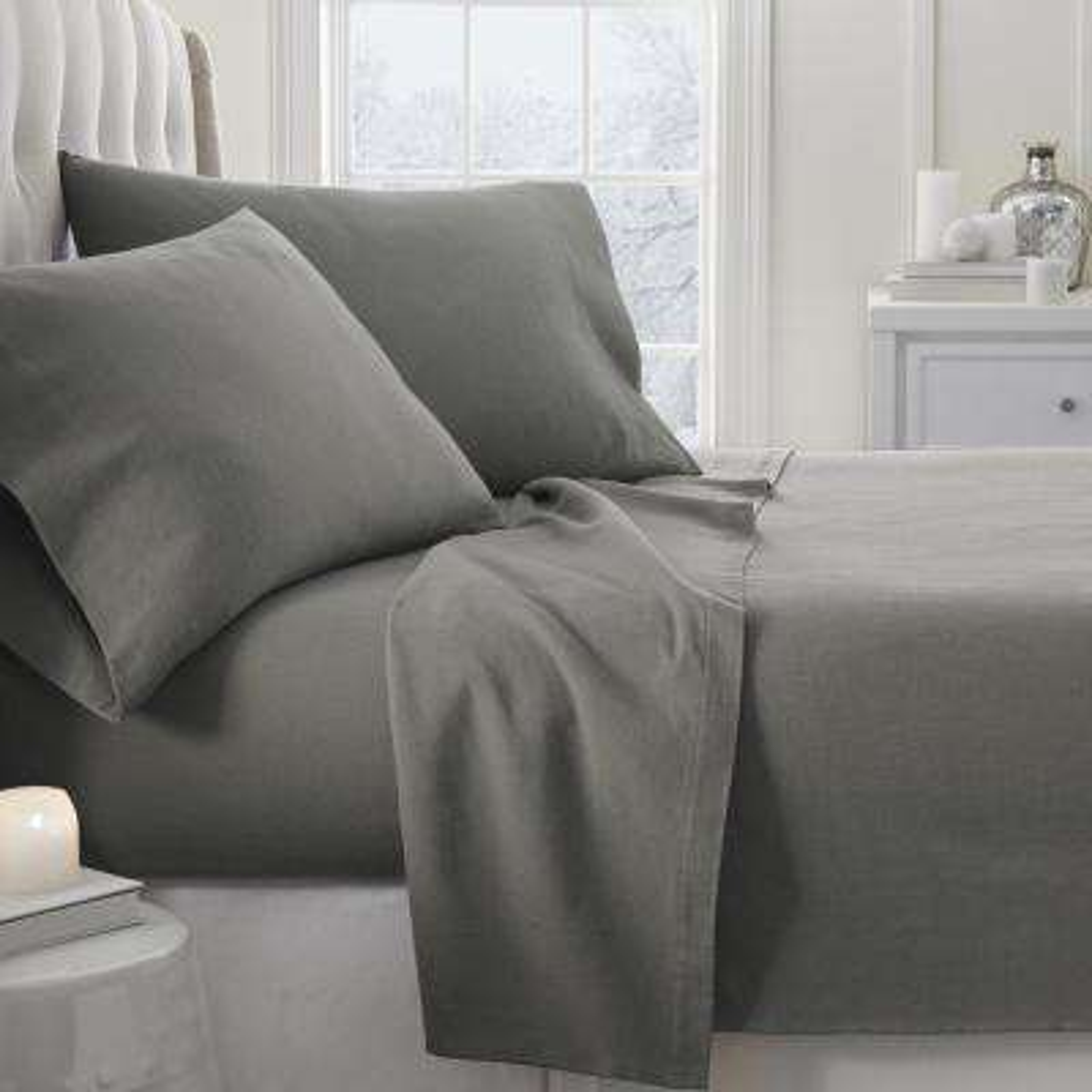 Solid Flannel Gray Queen 4-Piece Bed Sheet Set