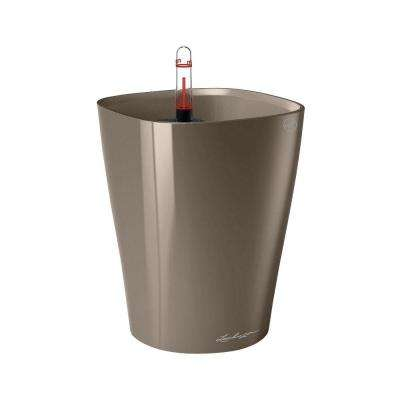 Deltini Premium 6 in. Square Taupe Table Top Self Watering Plastic Planter