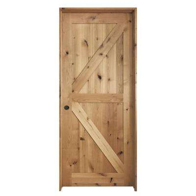 24 in. x 80 in. K Frame Unfinished Barn Door Style Knotty Alder Single Prehung Interior Door