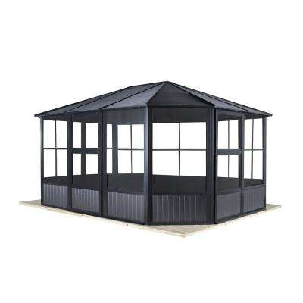 12 ft. D x 12 ft. W Charleston Aluminum Octagonal Solarium in Dark Gray with Galvanized Steel Roof and Mosquito Netting