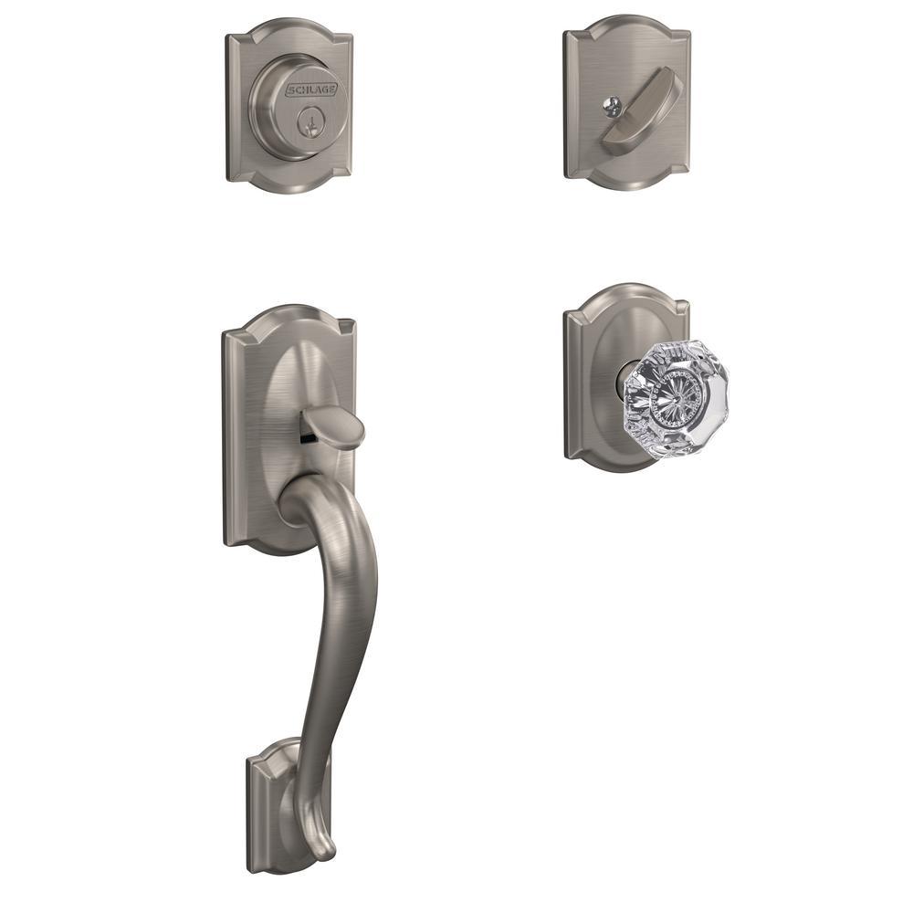 Camelot Satin Nickel Dummy Door Handleset with Alexandria Glass Door Knob and Alden Trim