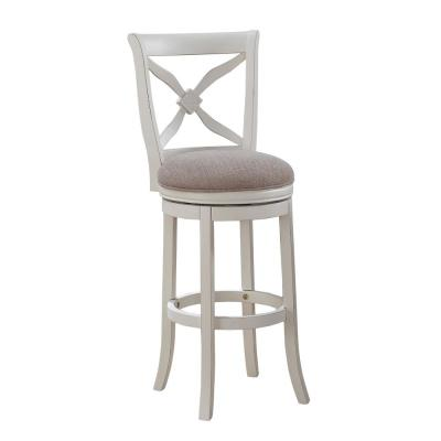 Accera 34 in. Distressed Antique White Swivel Tall Bar Stool
