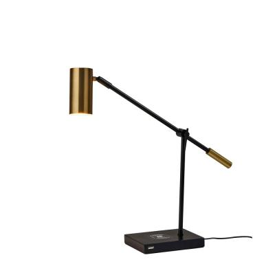 22. in. Black/Antique Brass Collette Qi Wireless Charging LED Desk Lamp