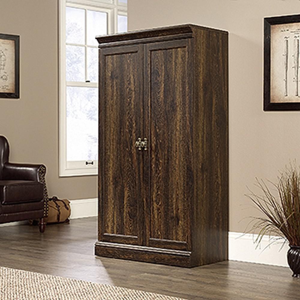Sauder Barrister Lane Iron Oak Storage Cabinet With Frame Panel