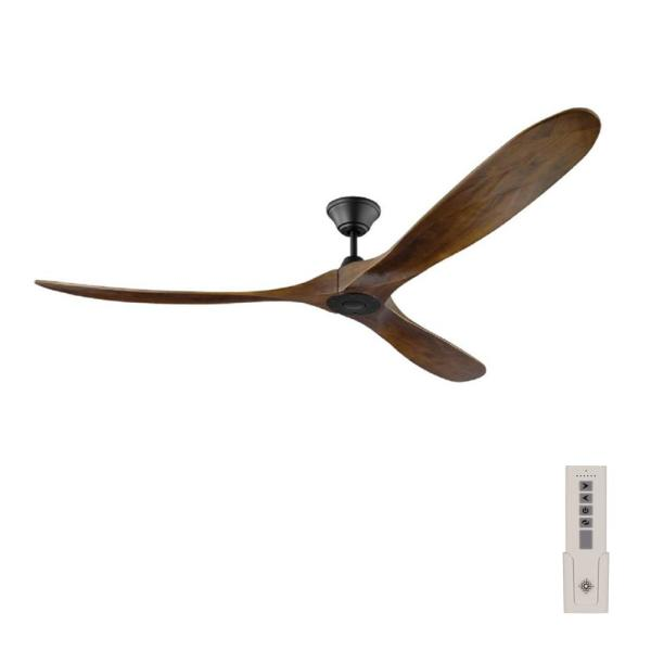 Maverick Max 70 in. Indoor/Outdoor Matte Black Ceiling Fan with Dark Walnut Balsa Blades, DC Motor and Remote Control