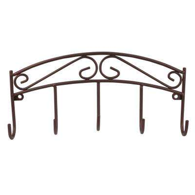 8.5 in. L Bronze Scroll Key Rack