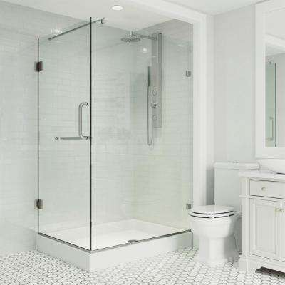 Pacifica 48.125 in. x 74.25 in. Frameless Hinged Shower Enclosure in Brushed Nickel with Clear Glass and Right Base