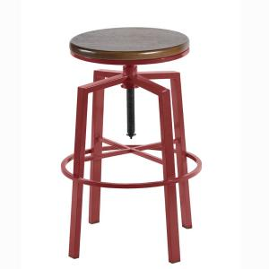 Incredible Dorian Red Backless Adjustable Height Barstool Ncnpc Chair Design For Home Ncnpcorg
