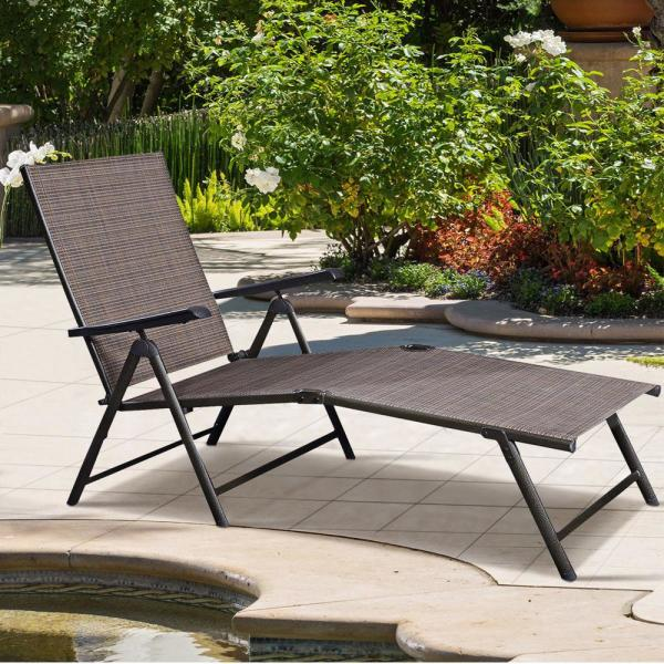 Costway Steel Pool Chair Recliner Patio Furniture Adjustable Outdoor Chaise Lounge Hw49889 The Home Depot