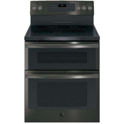 6.6 cu. ft. Double Oven Electric Range with Self-Cleaning Convection Oven (Lower Oven Only) in Black Stainless