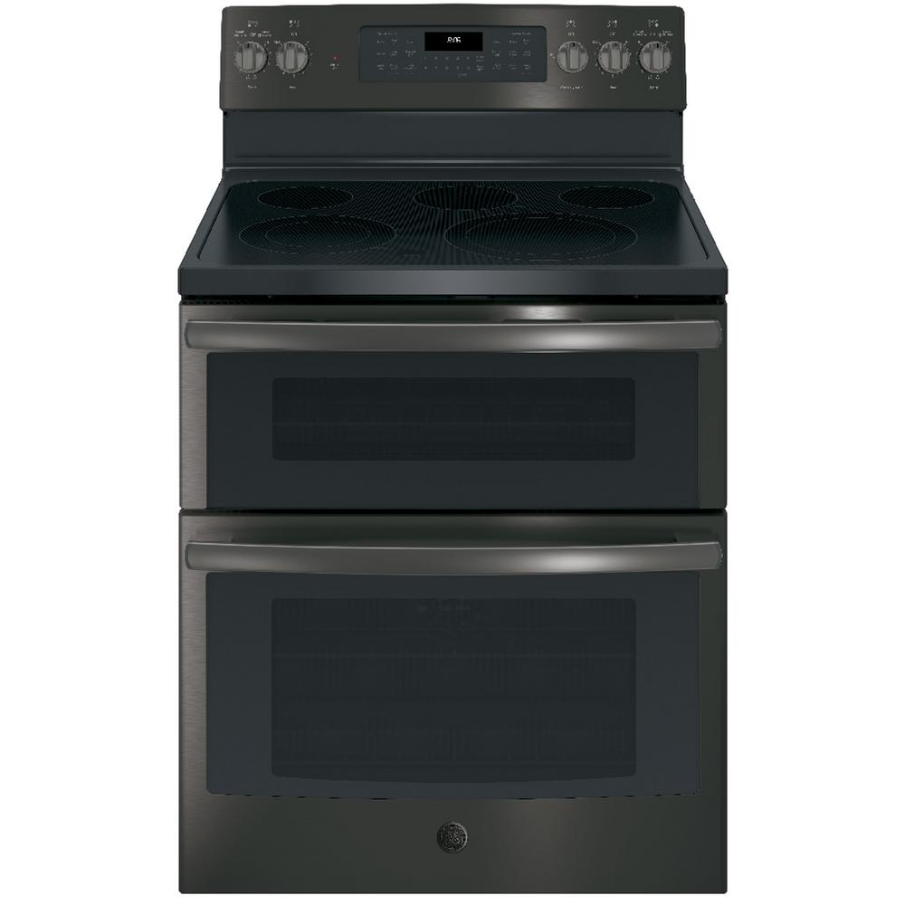 GE 6.6 cu. ft. Double Oven Electric Range with Self-Cleaning Convection Lower Oven in Black Stainless Steel