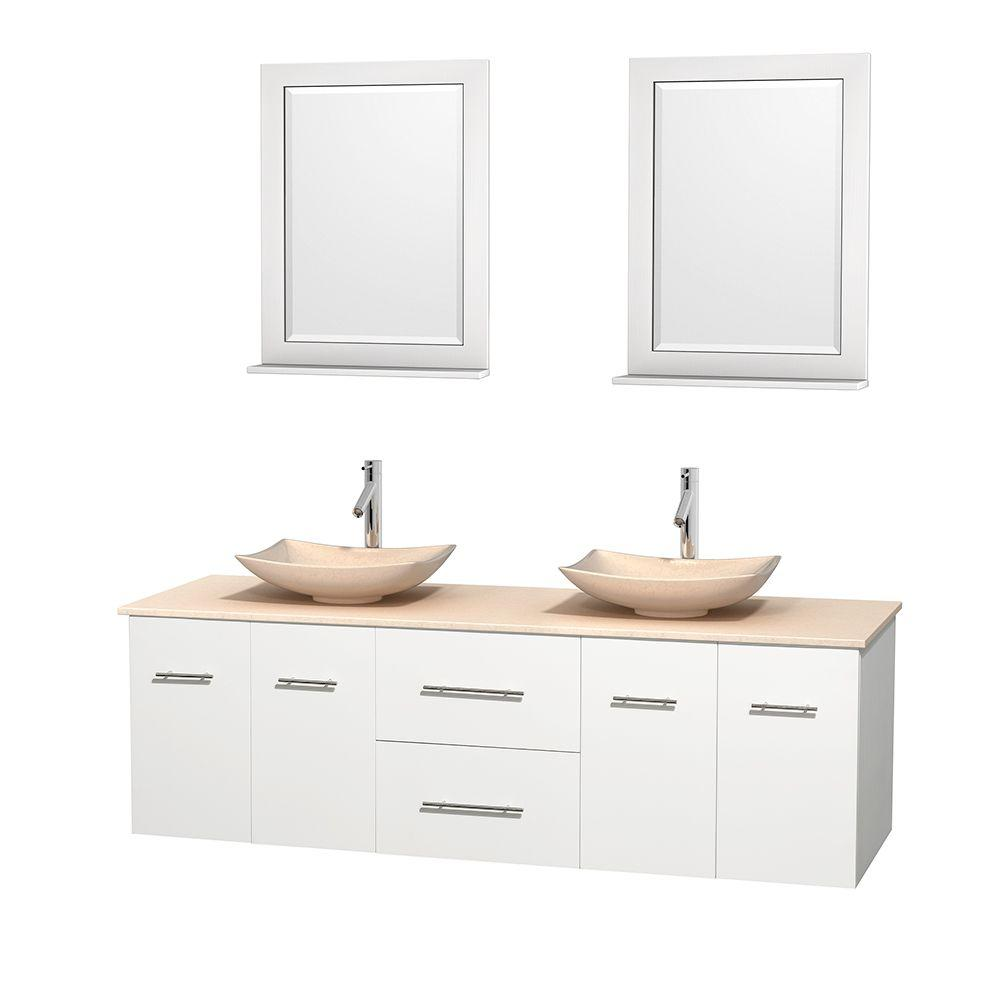 Wyndham Collection Centra 72 in. Double Vanity in White with Marble Vanity Top in Ivory, Marble Sinks and 24 in. Mirrors
