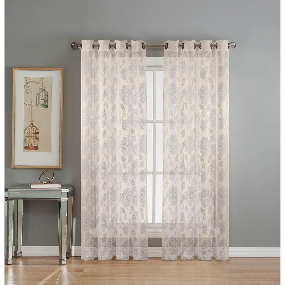 Window Elements Sheer Avery Cotton Blend Burnout Sheer Extra Wide 84 in. L Grommet Curtain Panel Pair, Ivory (Set of 2)