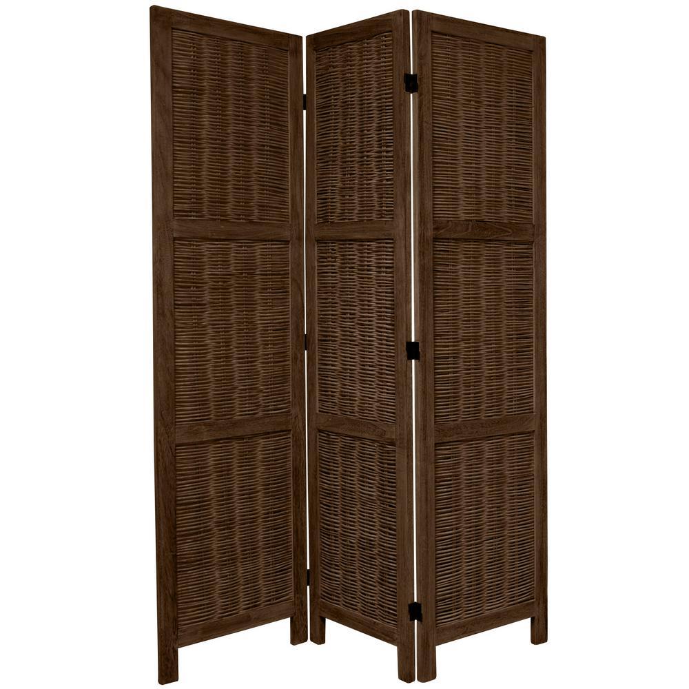 Oriental Furniture 6 Ft Burnt Brown Matchstick 3 Panel Room Divider